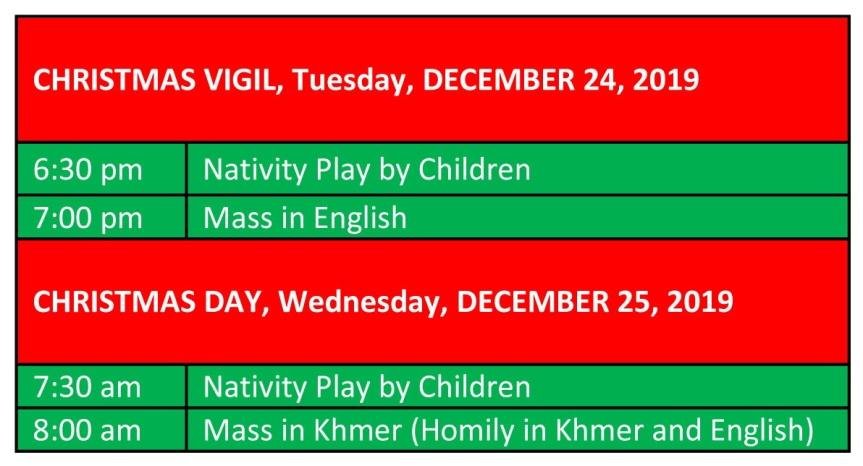 CHRISTMAS VIGIL Web Schedule