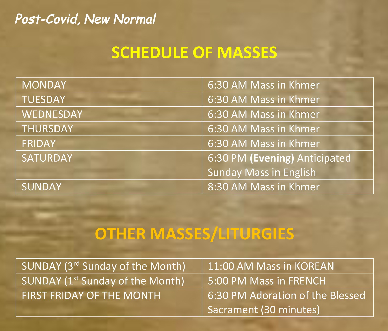 Post-Covid Schedule of Masses